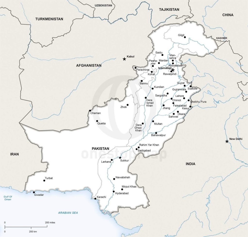 Vector Map Of Pakistan Political | One Stop Map within Printable Map Of Pakistan