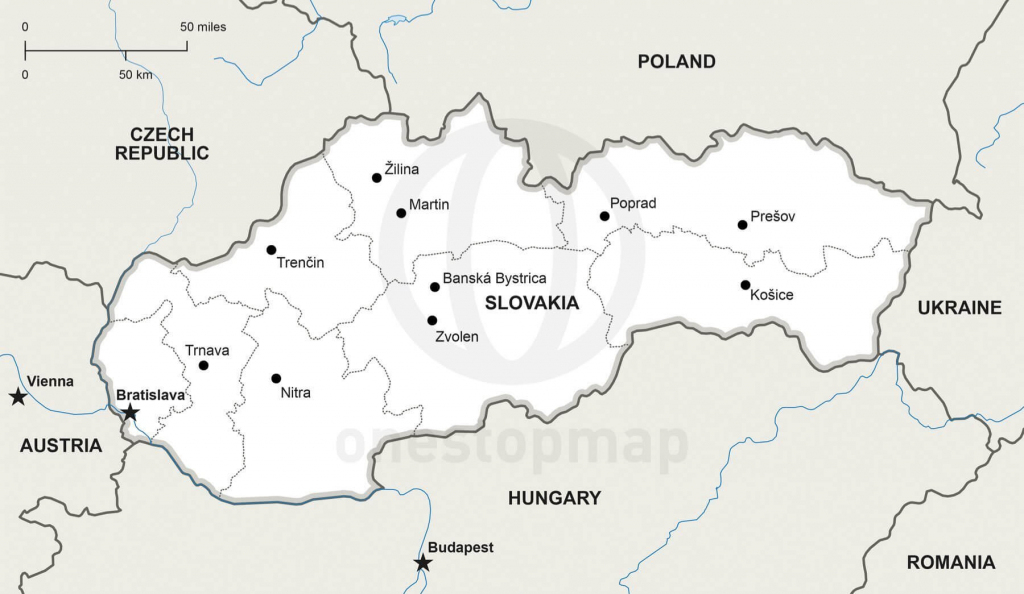 Vector Map Of Slovakia Political | One Stop Map with regard to Printable Map Of Austria