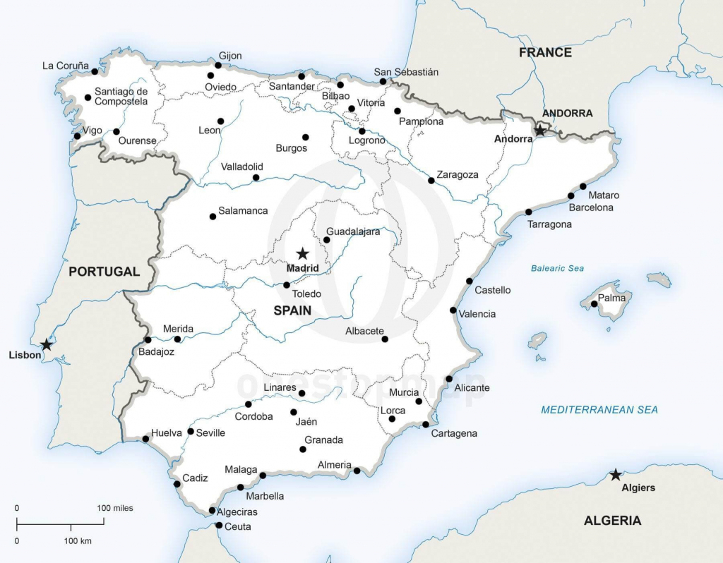 Vector Map Of Spain Political | One Stop Map regarding Printable Map Of Spain With Cities
