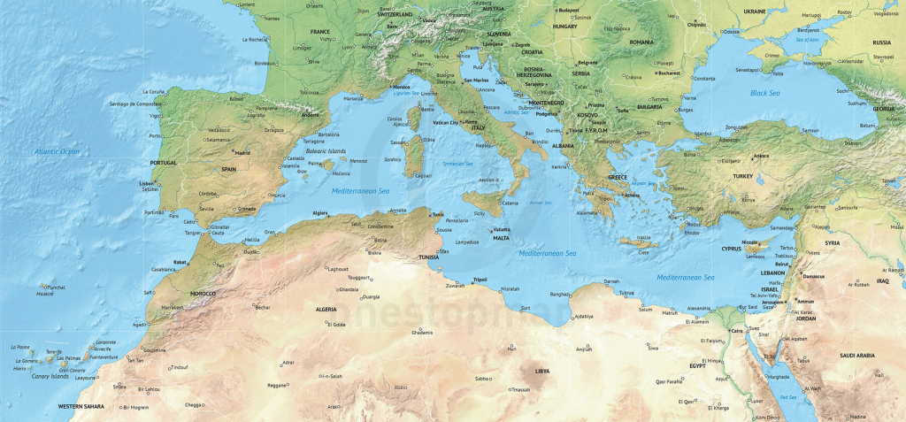 Vector Map Of The Mediterranean, Political With Shaded Relief | One throughout Mediterranean Map Printable