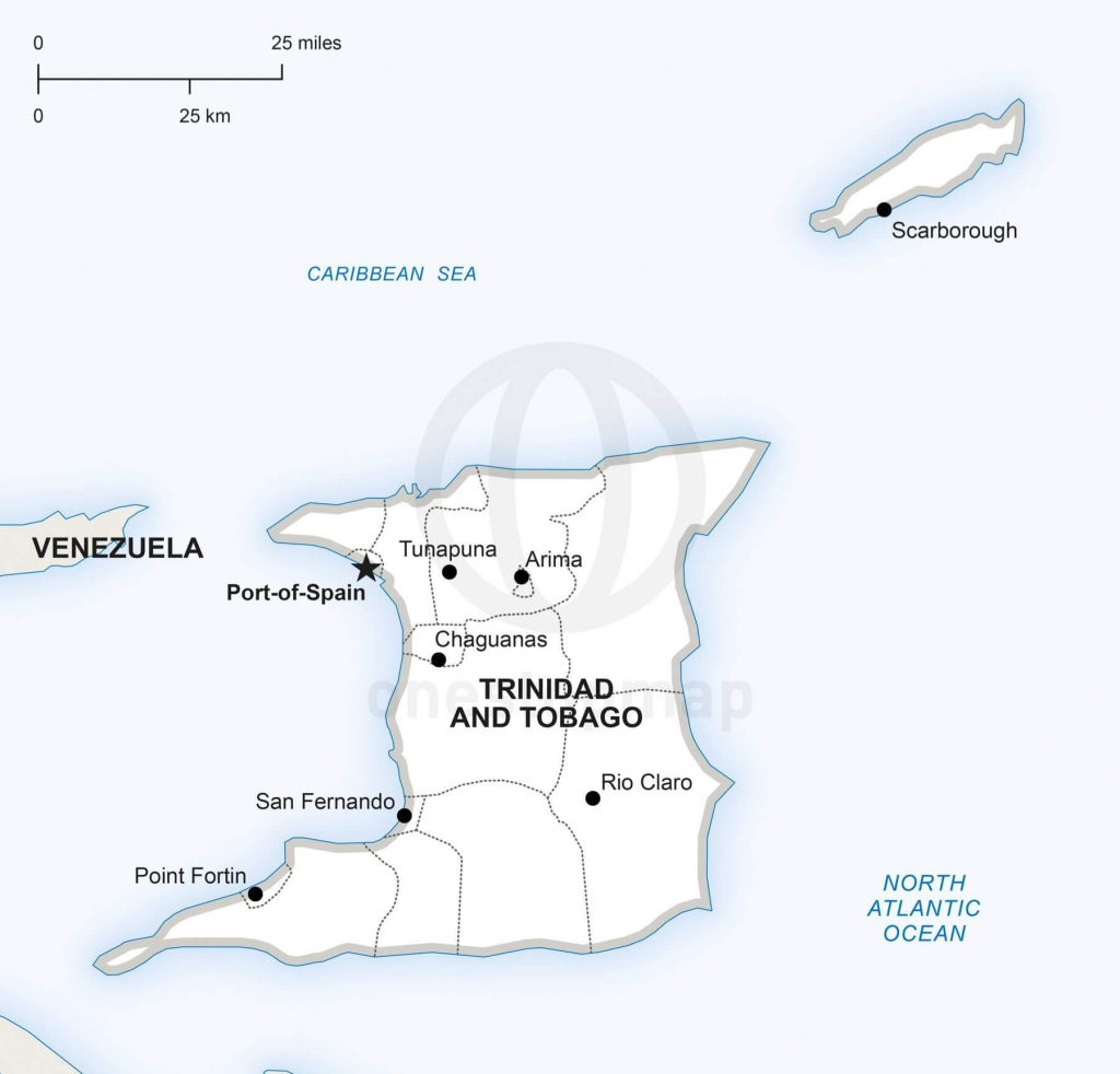 Vector Map Of Trinidad And Tobago Political | One Stop Map throughout Printable Map Of Trinidad And Tobago