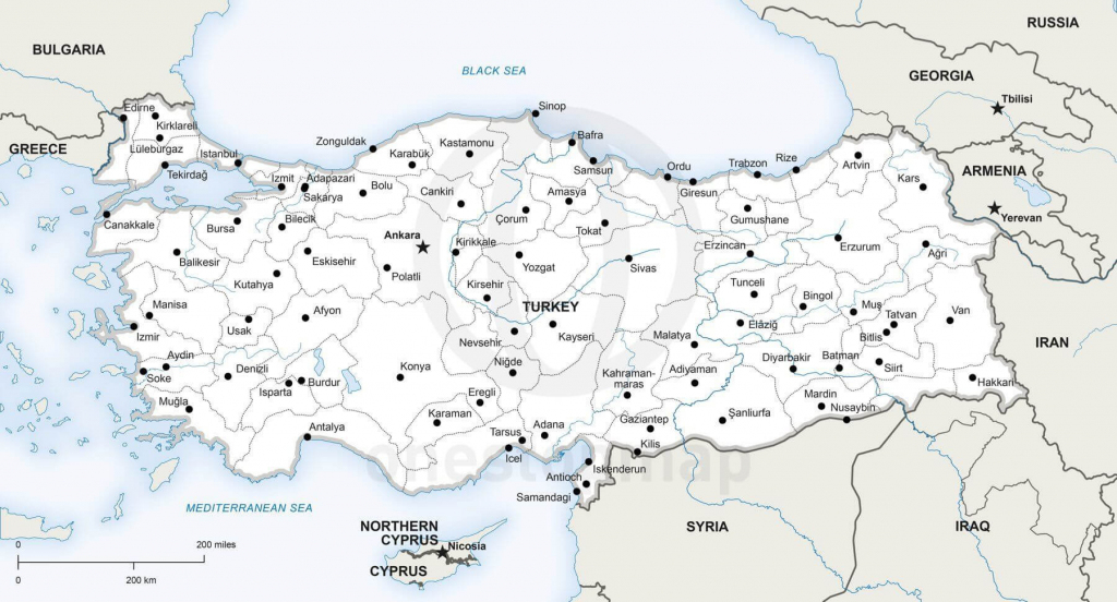 Vector Map Of Turkey Political | One Stop Map for Printable Map Of Turkey