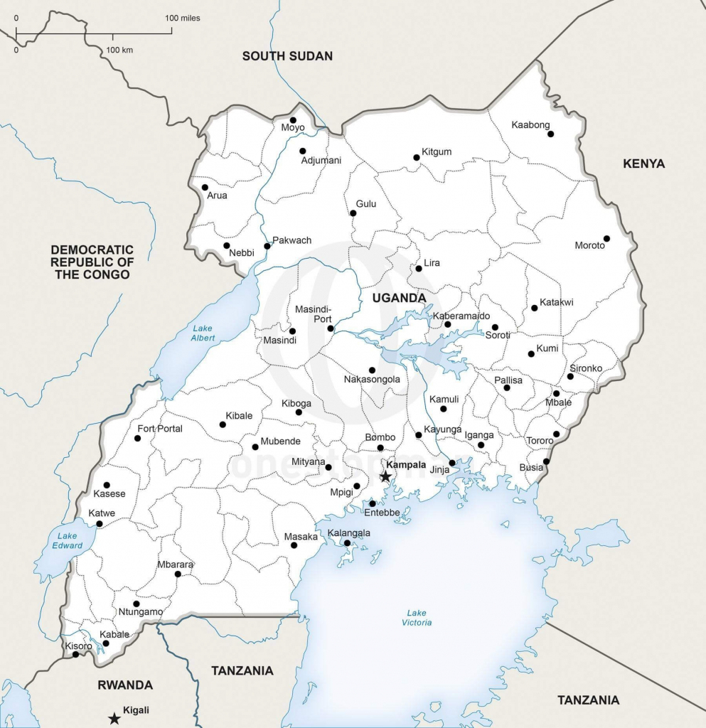 Vector Map Of Uganda Political | One Stop Map for Printable Map Of Uganda