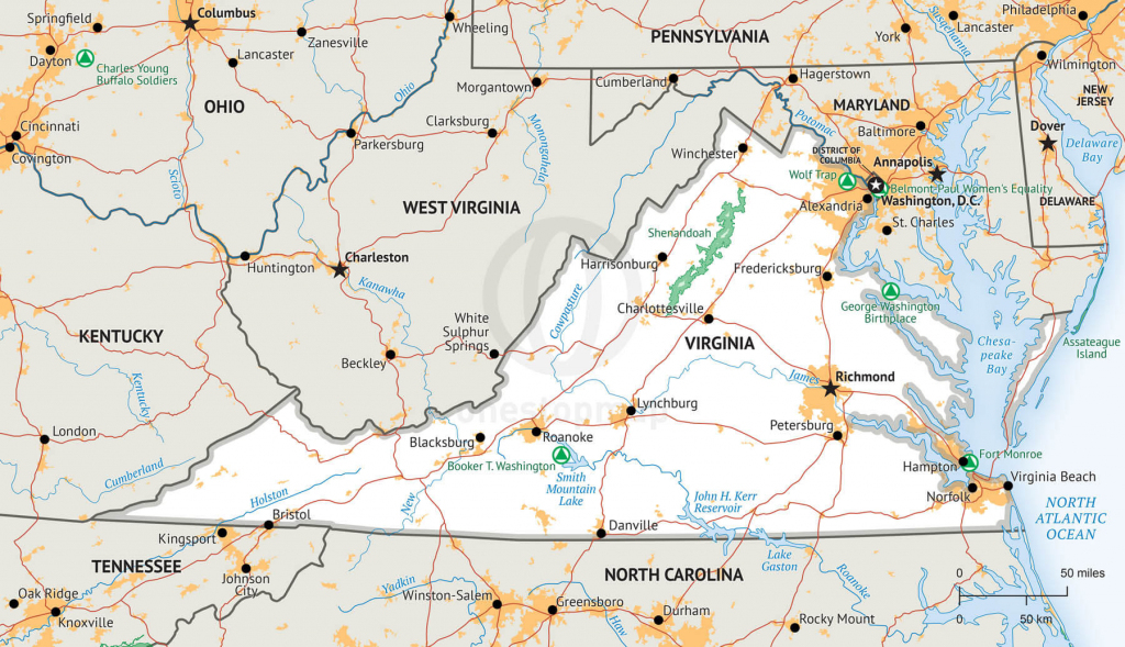 Vector Map Of Virginia Political | One Stop Map regarding Virginia State Map Printable