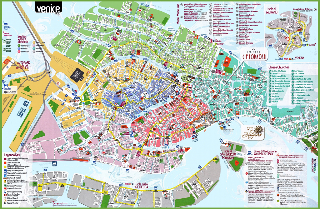 Venice Attractions Map Pdf - Free Printable Tourist Map Venice inside Printable Walking Map Of Venice Italy
