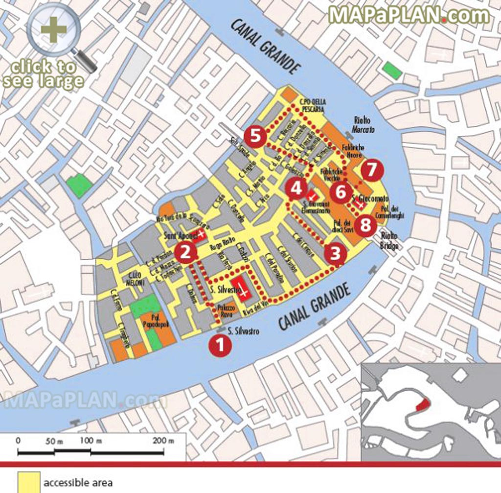 Venice Maps - Top Tourist Attractions - Free, Printable City Street Map for Printable Walking Map Of Venice Italy