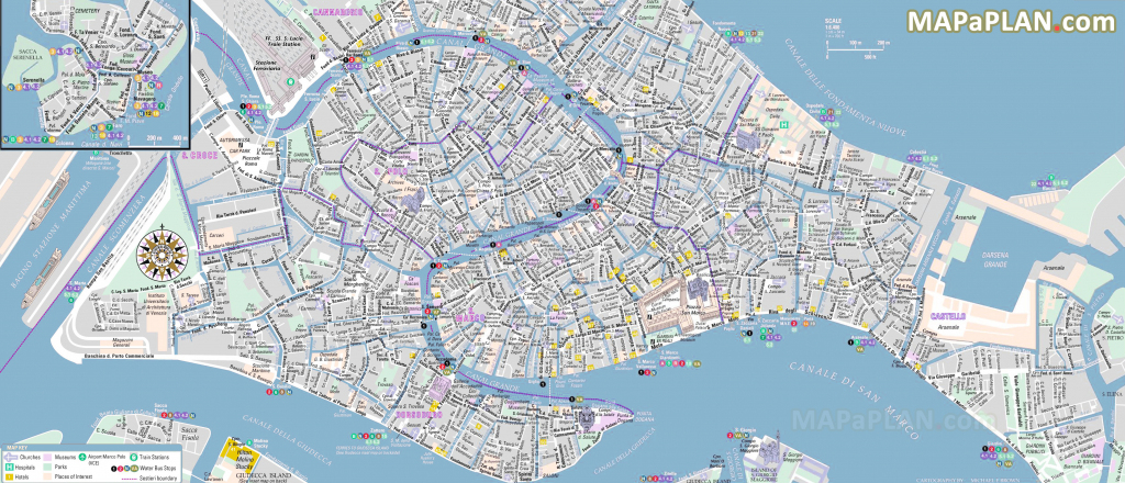 Venice Maps - Top Tourist Attractions - Free, Printable City Street Map intended for Venice Street Map Printable