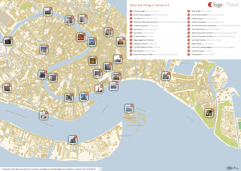 Venice Printable Tourist Map | Sygic Travel throughout Tourist Map Of Venice Printable