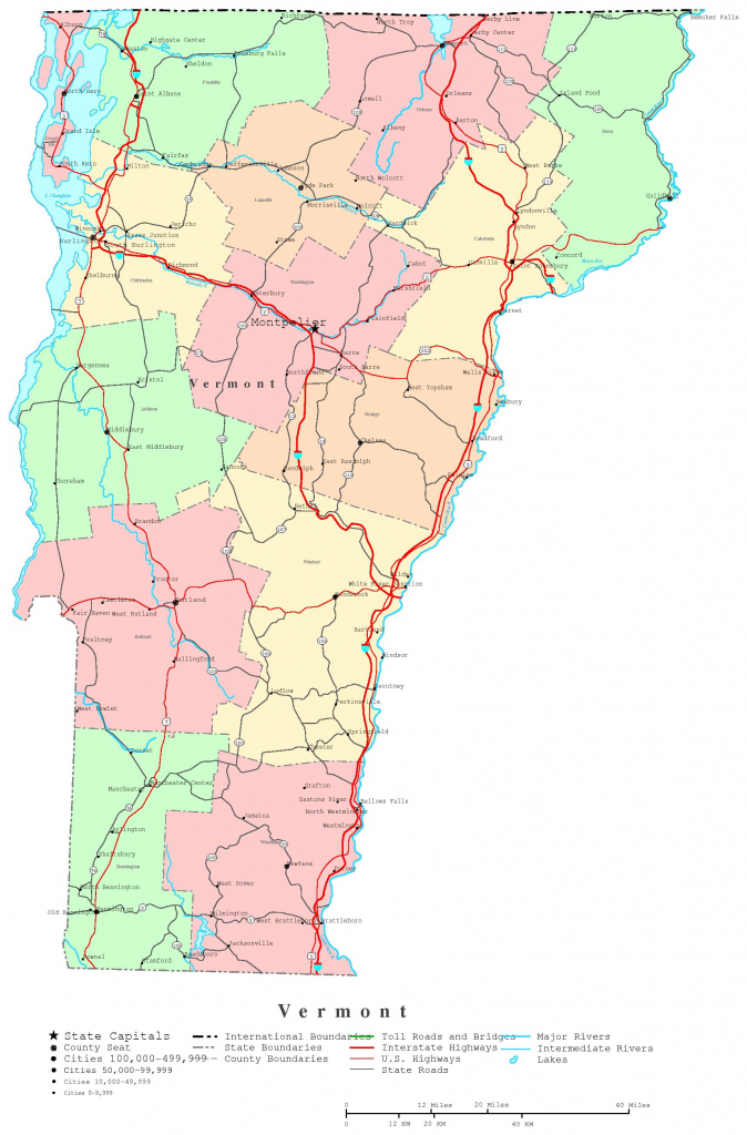 Vermont Printable Map pertaining to Printable Map Of Vermont