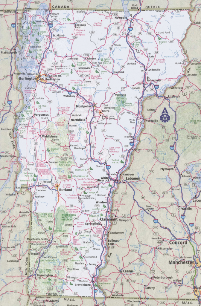 Vermont Road Map throughout Printable State Road Maps