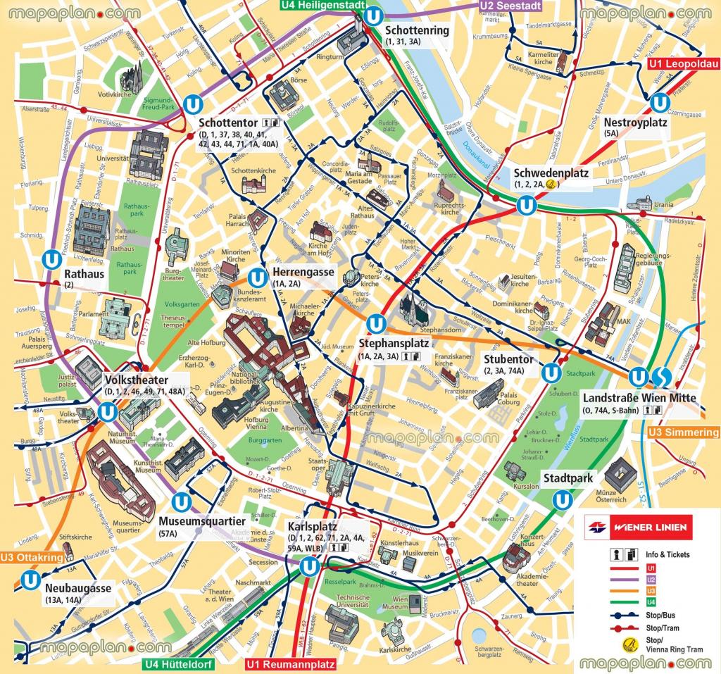 Vienna Map Ubahn Underground Subway Metro Stations Tram Stops with regard to Printable Tourist Map Of Vienna