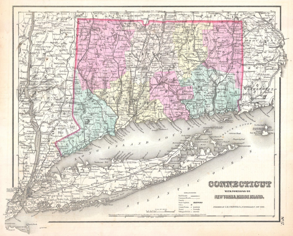 Vintage Connecticut And Long Island Map Old Map 1855 Ct And | Etsy within Printable Map Of Long Island