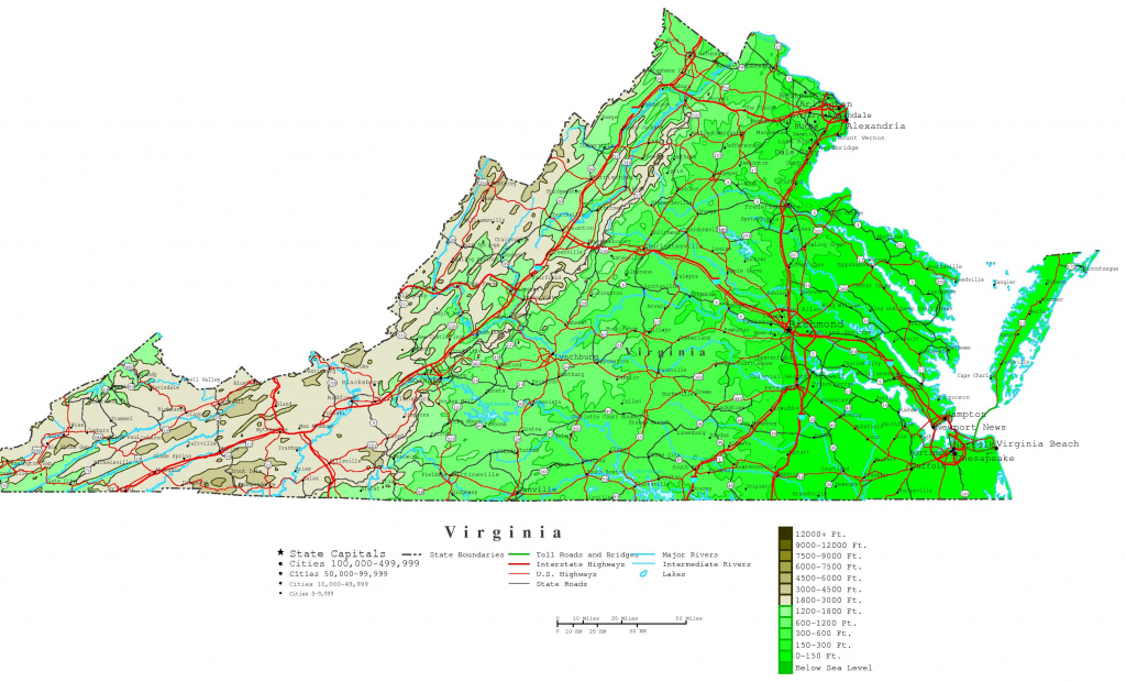 Virginia Printable Map with regard to Virginia State Map Printable