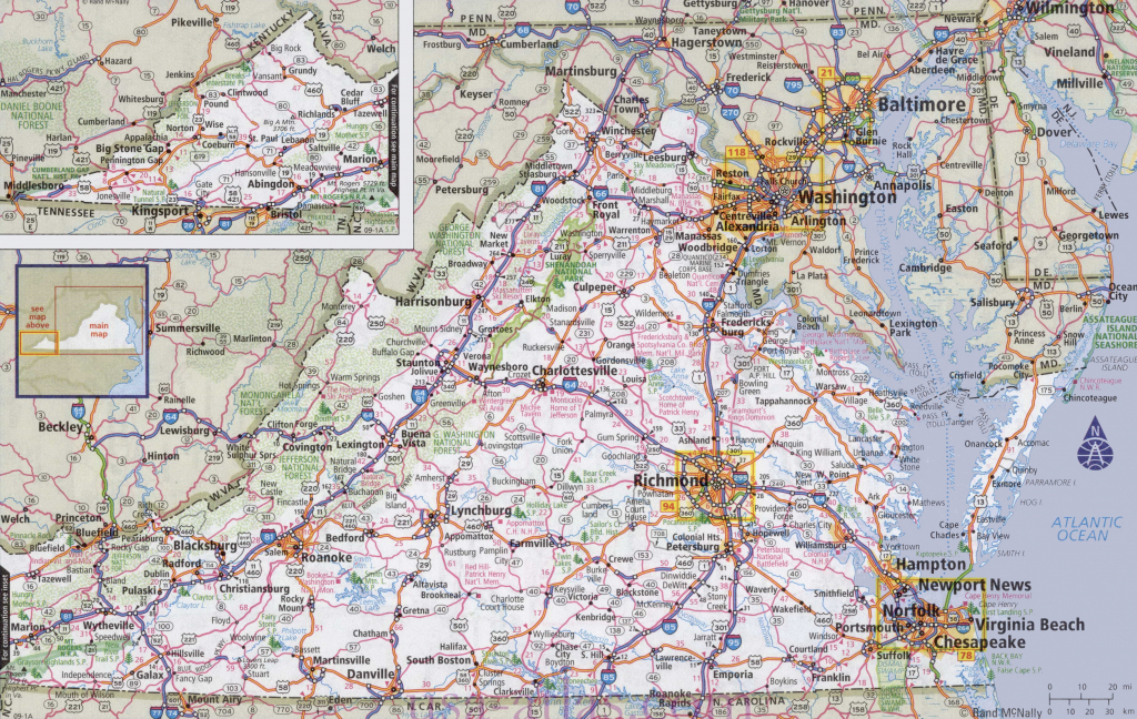 Virginia Road Map with Virginia State Map Printable