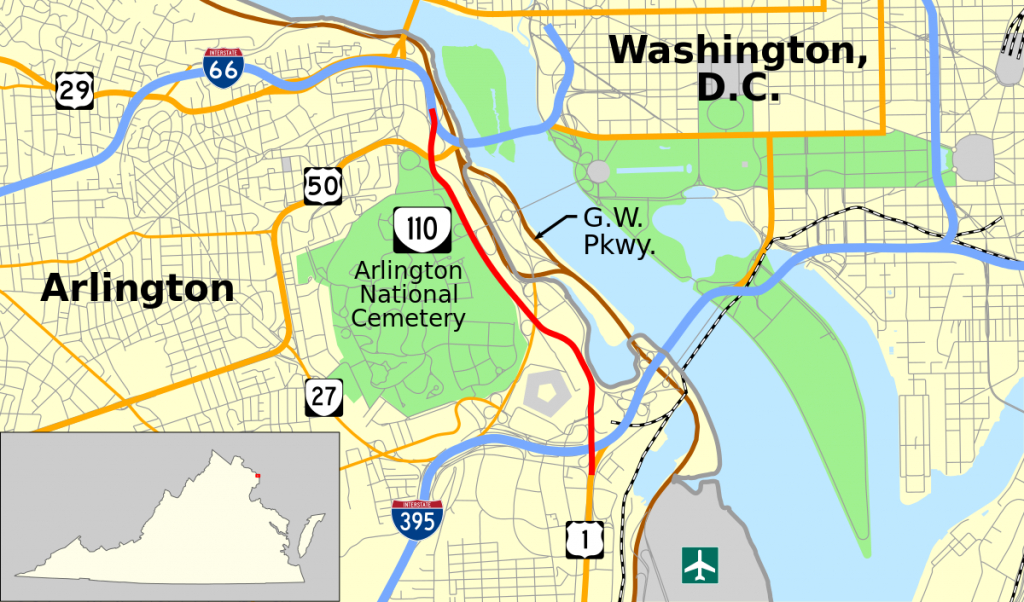 Virginia State Route 110 - Wikipedia inside Arlington Cemetery Printable Map