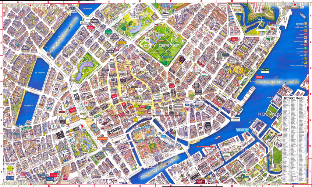Virtual Interactive 3D Copenhagen Denmark City Center Free Printable throughout Printable Aerial Maps