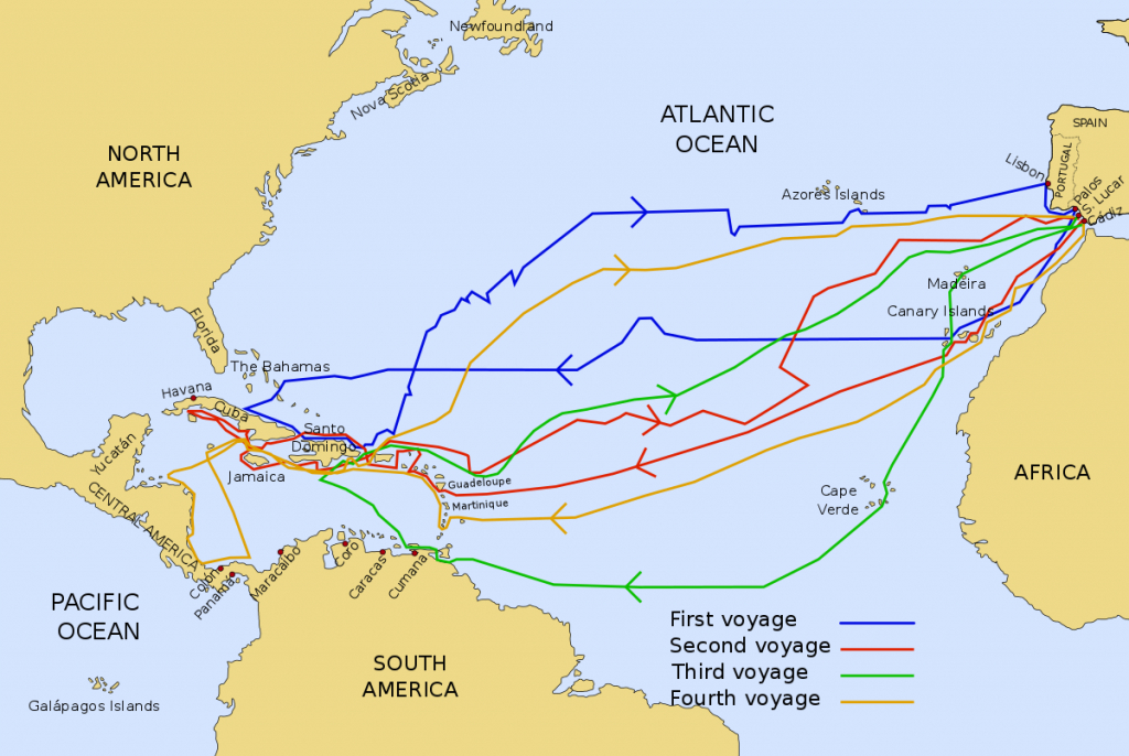 Voyages Of Christopher Columbus - Wikipedia intended for Printable Map Of Christopher Columbus Voyages