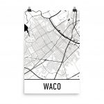 Waco Tx Street Map Poster | Waco   Baylor's Hometown | Map Art, Map In Printable Map Of Waco Texas
