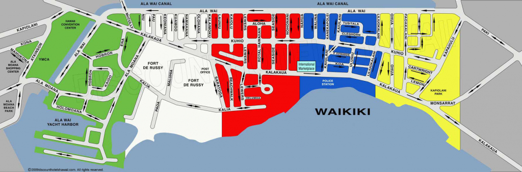 Waikiki Street Map within Printable Map Of Waikiki