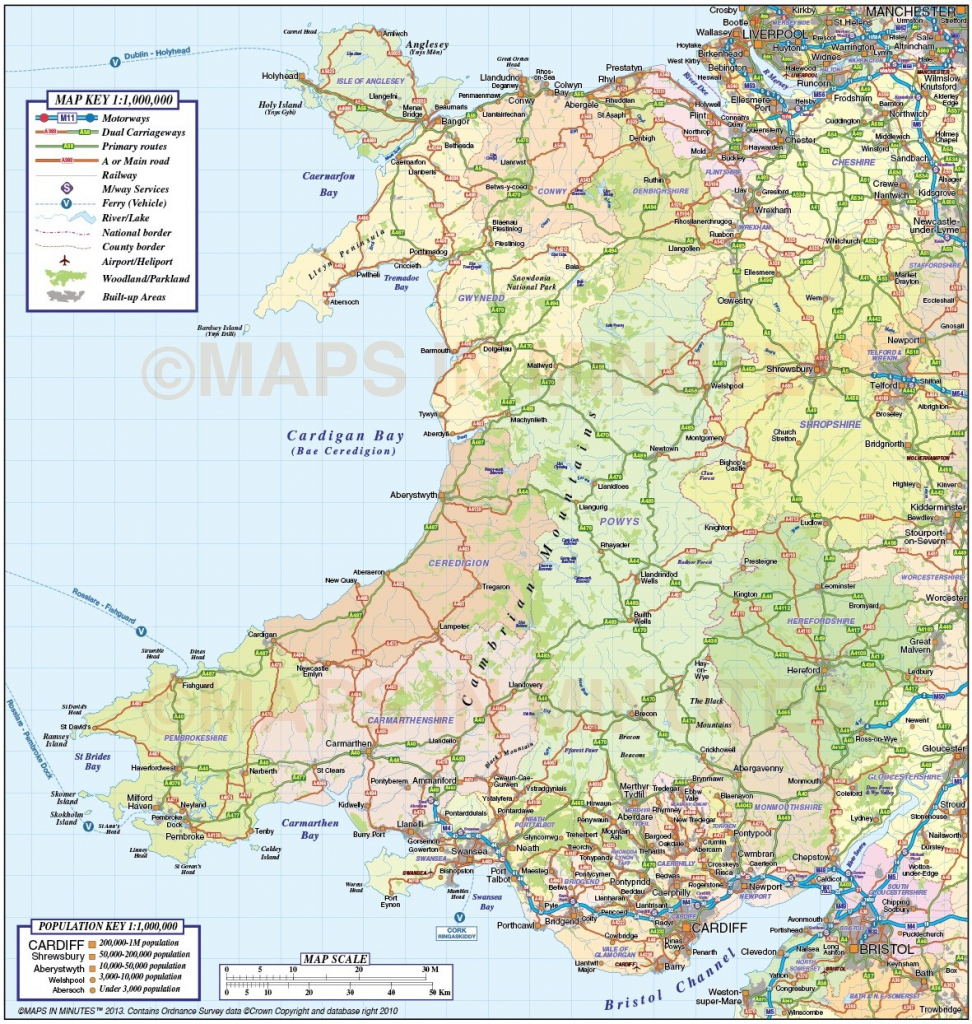 Wales 1St Level County Road & Rail Map @1M Scale In Illustrator And throughout Printable Map Of Wales