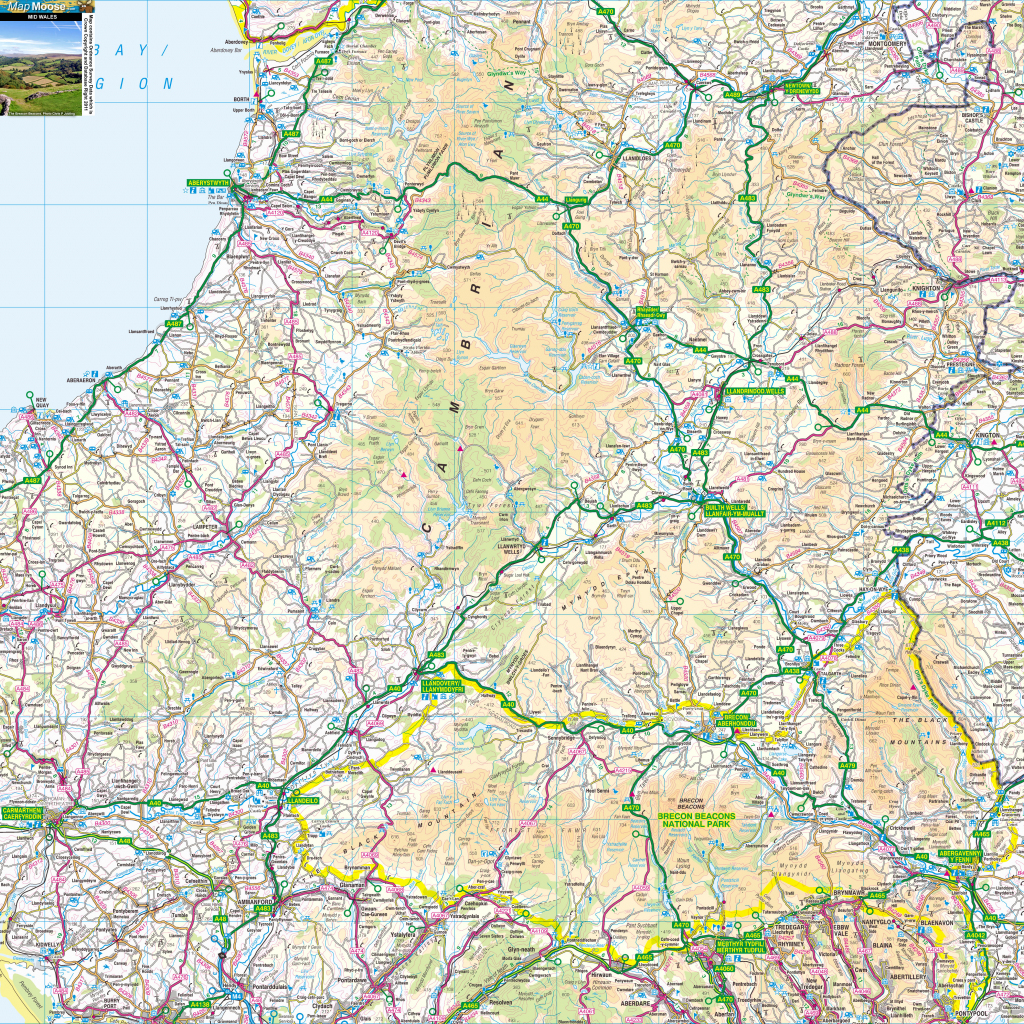 Wales Offline Map, Including Anglesey, Snowdonia, Pembrokeshire And throughout Printable Map Of Wales