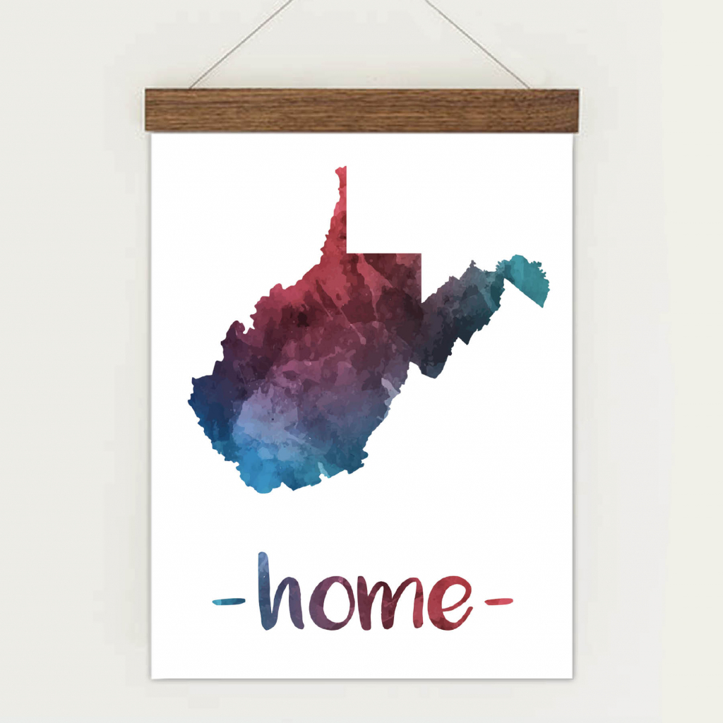 Wall Art Printables | State Map Wall Art - Emerald And Mint in Printable Map Of West Virginia