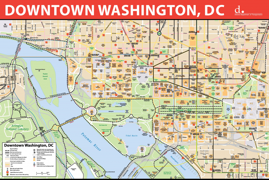 Washington, D.c. Downtown Bike Map with Printable Map Of Washington Dc