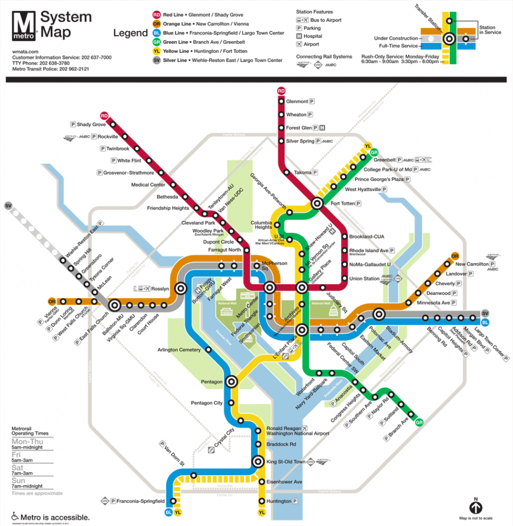Washington, D.c. Subway Map | Rand inside Printable Dc Metro Map
