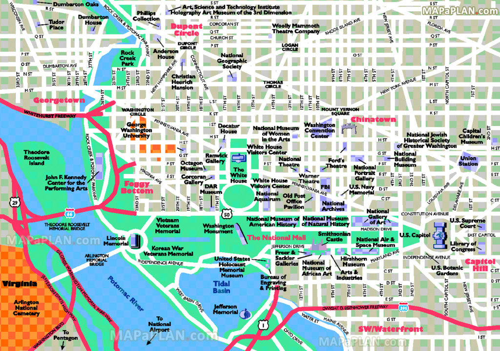 Washington Dc Maps - Top Tourist Attractions - Free, Printable City in Map Of Downtown Washington Dc Printable