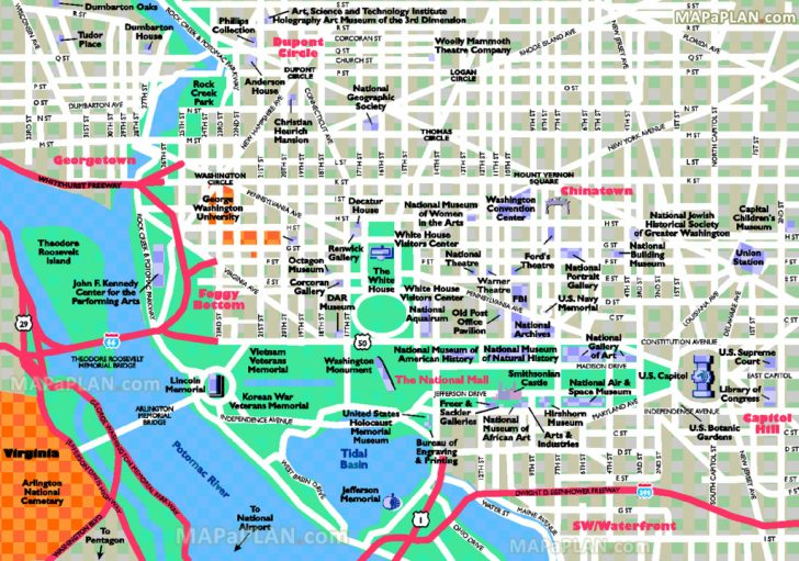 Printable Map Of Washington Dc