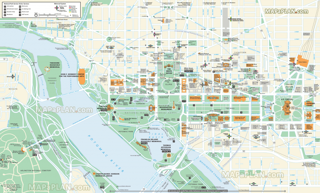 Washington Dc Maps - Top Tourist Attractions - Free, Printable City inside Printable Map Of Washington Dc