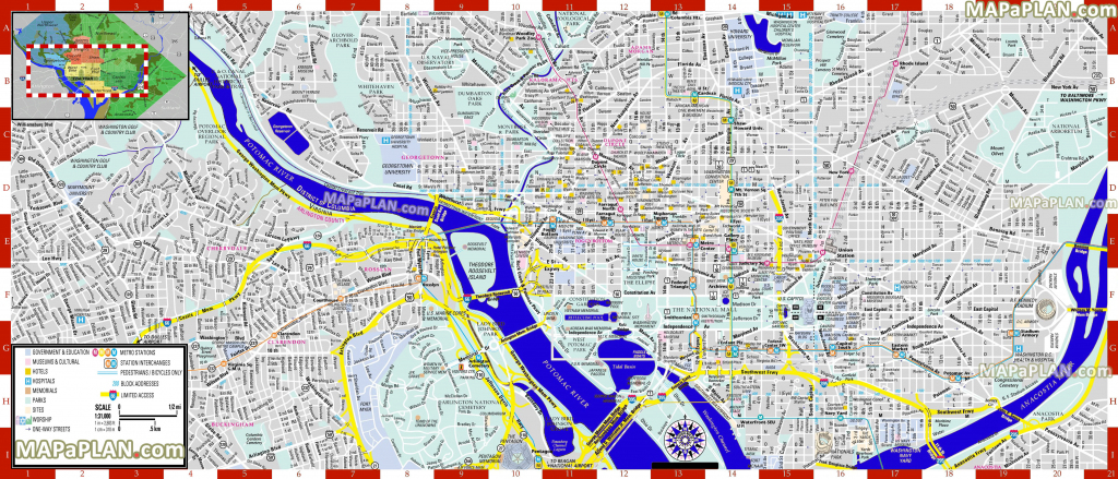 Washington Dc Maps - Top Tourist Attractions - Free, Printable City with Printable Street Maps