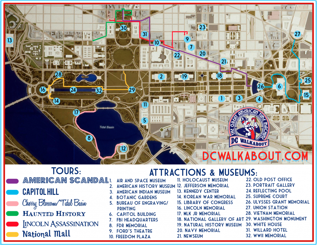 Washington Dc Tourist Map | Tours & Attractions | Dc Walkabout in Washington Dc Tourist Map Printable