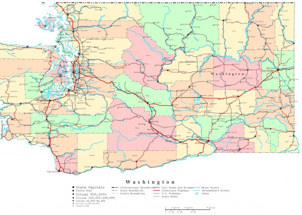 Washington Printable Map within Washington State Road Map Printable