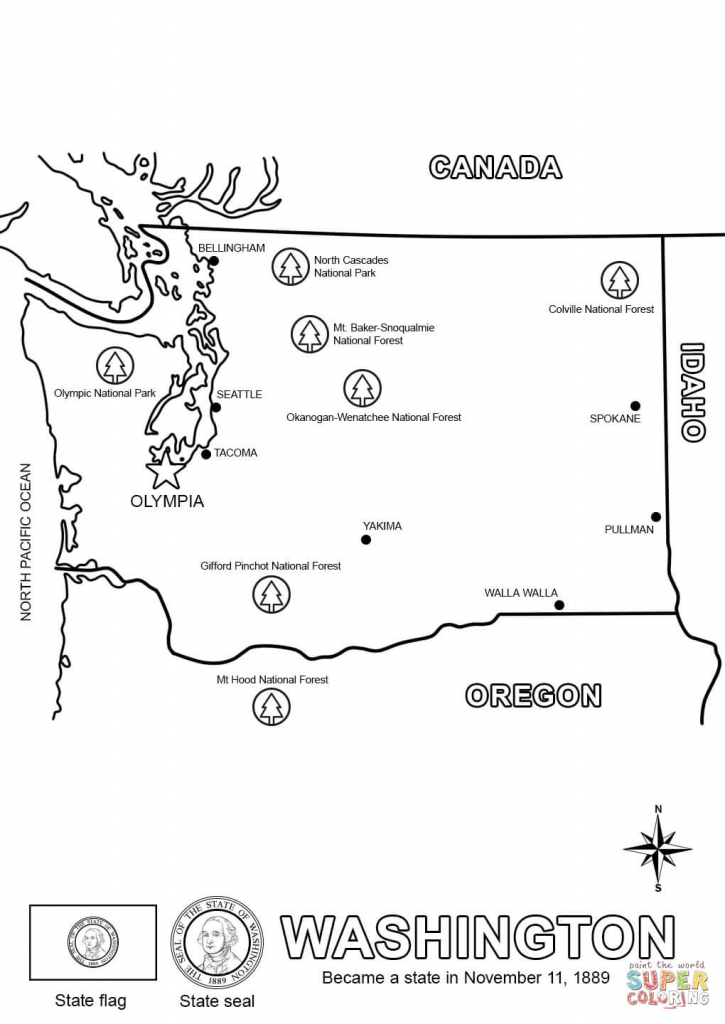 Washington State Map Coloring Page | Free Printable Coloring Pages for Free Printable Map Of Washington State