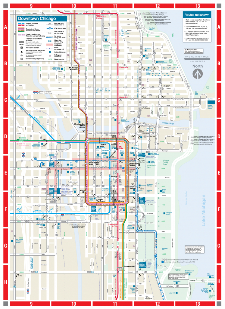 Web-Based Downtown Map - Cta for Chicago Loop Map Printable