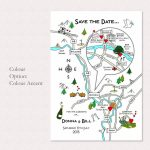 Wedding Or Party Illustrated Map Invitation | Wedding | Map Pertaining To How To Create A Printable Map For A Wedding Invitation
