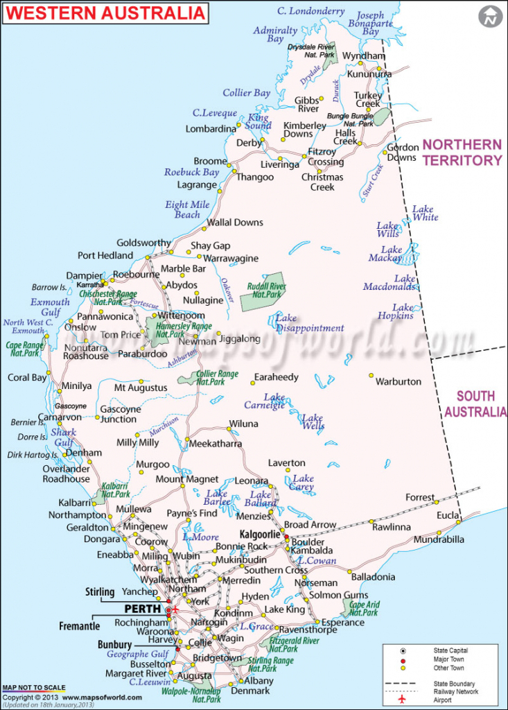 Western Australia Map | Map Of Western Australia - Maps Of World pertaining to Printable Map Of Western Australia