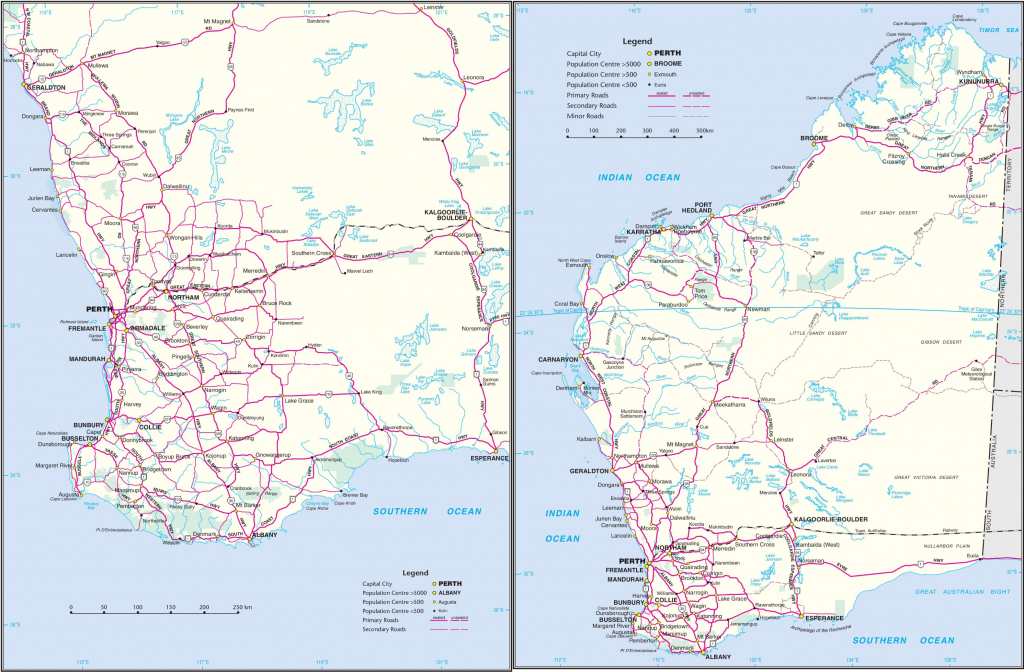 Western Australia Road Map within Printable Map Of Western Australia