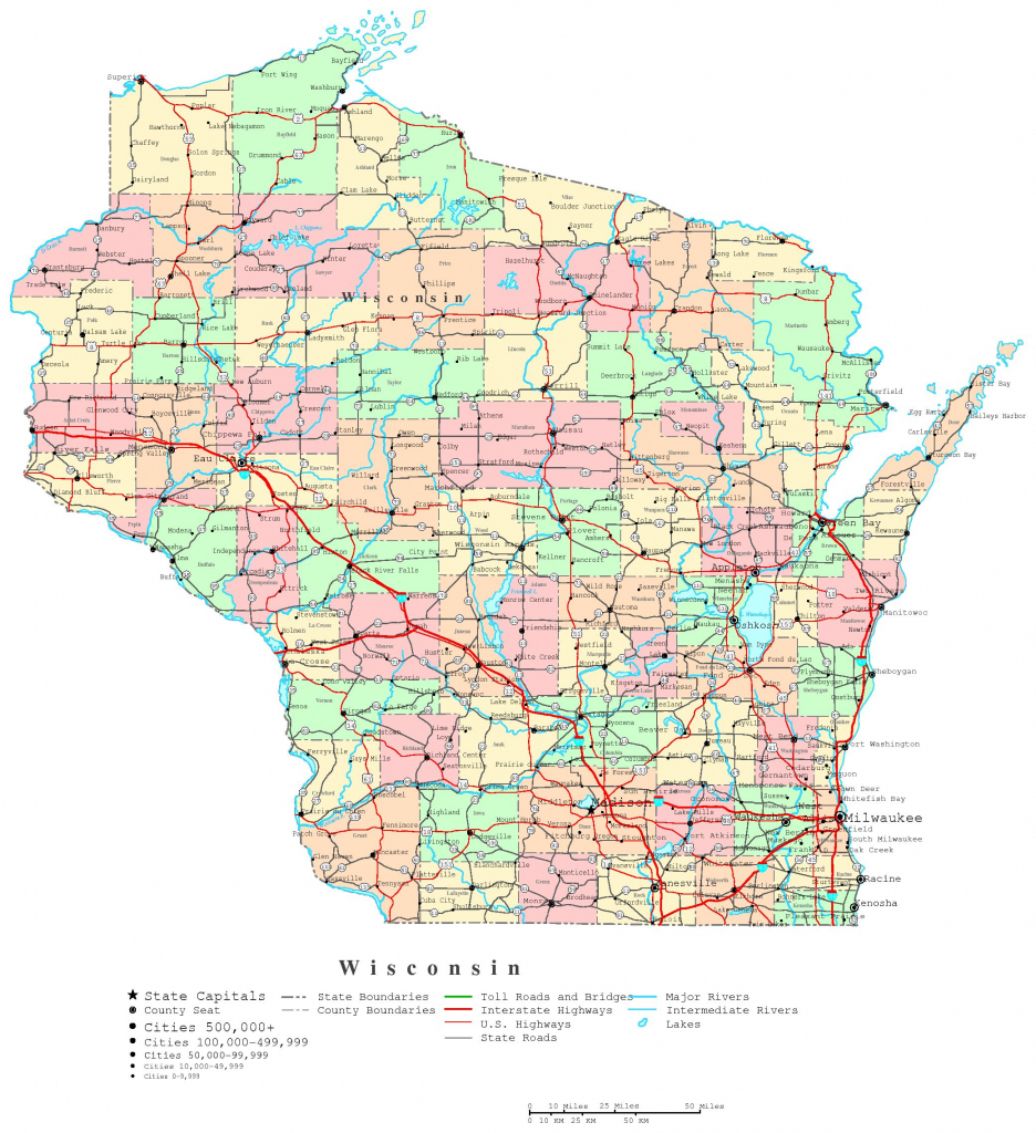 Wisconsin Printable Map inside Wisconsin Road Map Printable