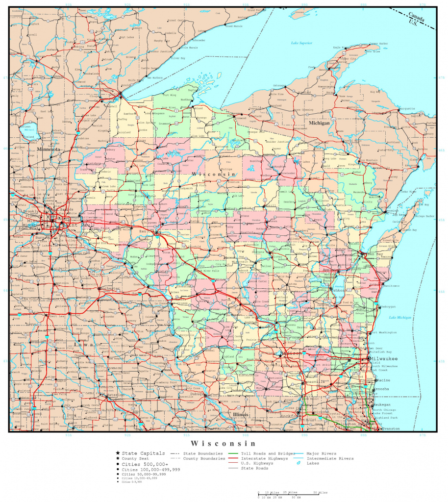 Wisconsin Printable Map with regard to Map Of Wisconsin Counties Printable