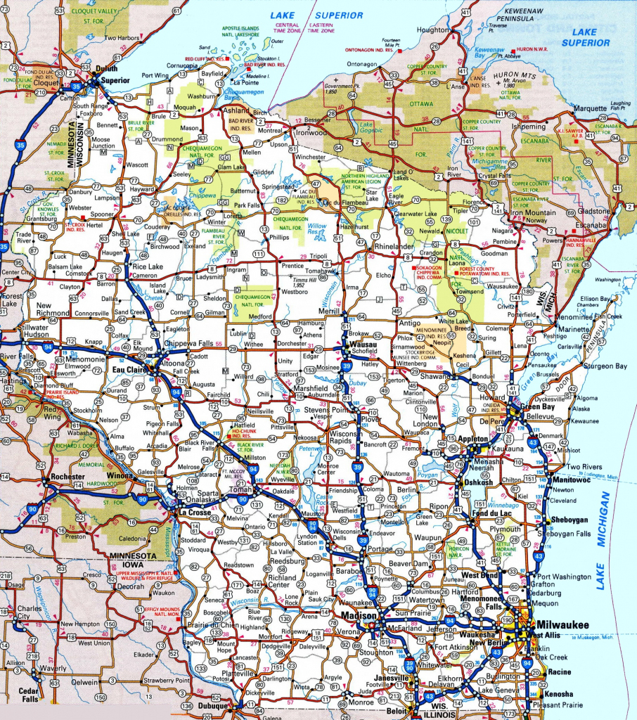Wisconsin Road Map within Printable Map Of Wisconsin Cities