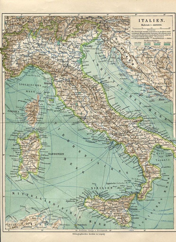 Wonderful Free Printable Vintage Maps To Download   ༺♥༻ Italy throughout Vintage Map Printable