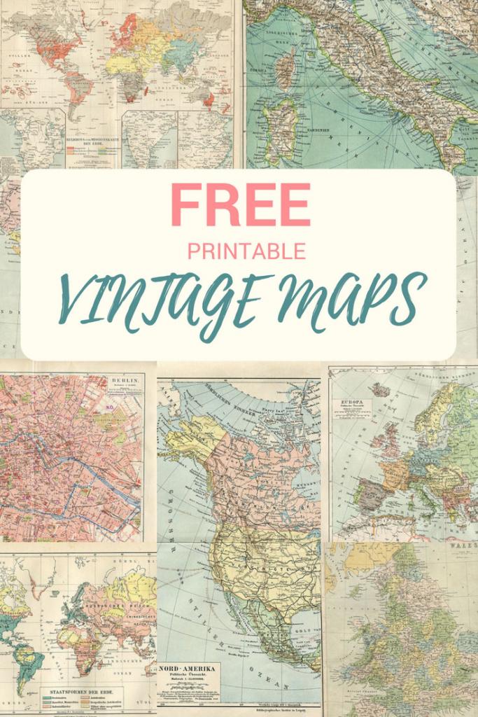 Wonderful Free Printable Vintage Maps To Download - Pillar Box Blue in Printable Old Maps