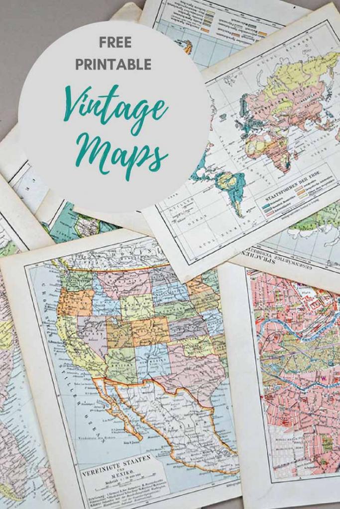 Wonderful Free Printable Vintage Maps To Download - Pillar Box Blue in Vintage Map Printable
