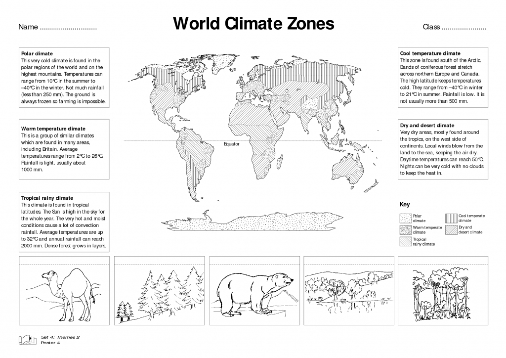 World Climate Zones For Kids Worksheets - Google Search | Weather for Weather Map Worksheets Printable