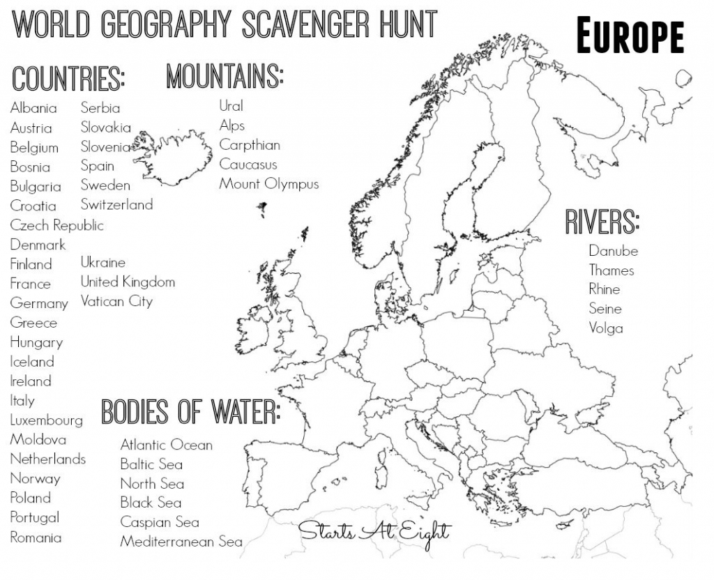 World Geography Scavenger Hunt: Europe ~ Free Printable | Continent regarding Map Of Europe For Kids Printable