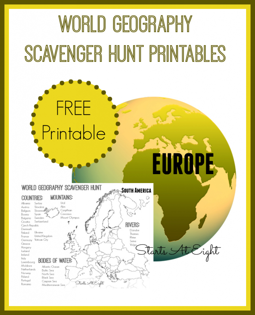 World Geography Scavenger Hunt: Europe ~ Free Printable - Startsateight with regard to Printable Scavenger Hunt Map