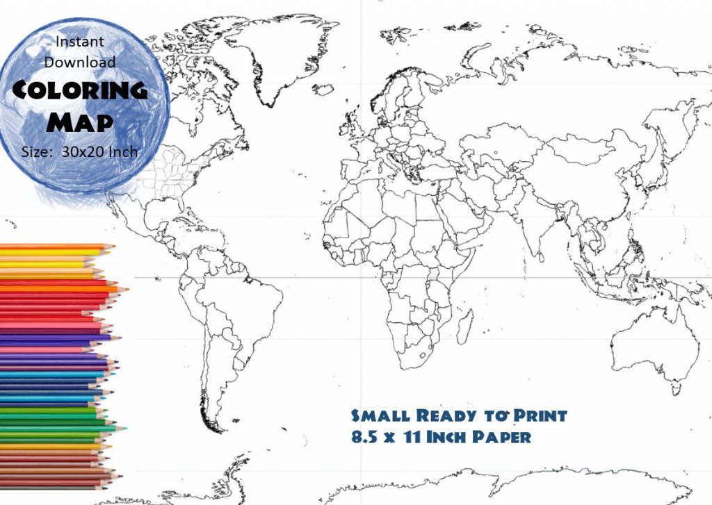 World Map Coloring Page | Black & White Map | Countries Outline | Map  Without Labels, 8.5X11 Inch in 8.5 X 11 Printable World Map