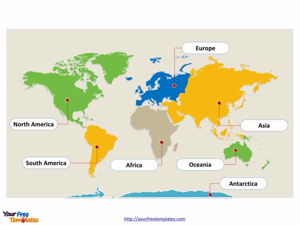 World Map With Continents - Free Powerpoint Templates for Continents Of The World Map Printable